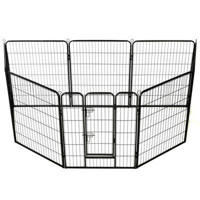 vidaXL Kojec dla psów, 8 paneli, stalowy, czarny, 80 x 100 cm