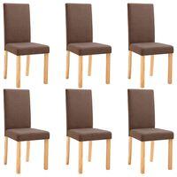 vidaXL Krzesła do jadalni, 6 szt., brązowe, tapicerowane tkaniną