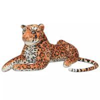 vidaXL Pluszowy leopard XXL brązowy