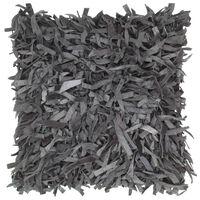 vidaXL Poduszka shaggy, szara, 60x60 cm, skóra i bawełna