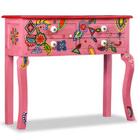 vidaXL Stolik konsola, drewno mango, różowy, ręcznie malowany