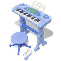 Zabawkowy keyboard ze stolikiem i mikrofonem, niebieski