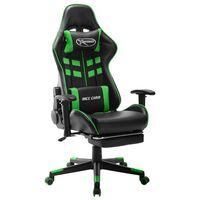 vidaXL Fotel dla gracza z podnóżkiem, czarno-zielony, sztuczna skóra