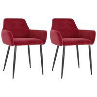 vidaXL Krzesła stołowe, 2 szt., winna czerwień, obite aksamitem