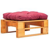vidaXL Ogrodowy puf z palet, czerwona poduszka, miodowy brąz, drewno