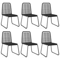 vidaXL Krzesła ogrodowe, 6 szt., polirattan, czarne
