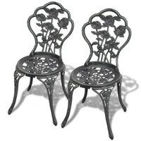 vidaXL Krzesła bistro, 2 szt., odlewane aluminium, zielone