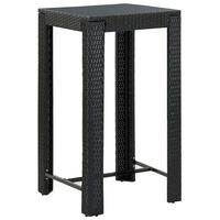 vidaXL Ogrodowy stolik barowy, czarny, 60,5x60,5x110,5 cm, polirattan