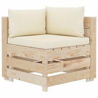 vidaXL Ogrodowa sofa narożna z palet z kremowymi poduszkami, drewniana