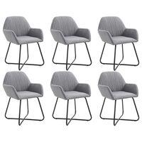 vidaXL Krzesła do jadalni, 6 szt., jasnoszare, tkanina
