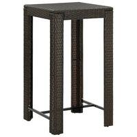 vidaXL Ogrodowy stolik barowy, brązowy, 60,5x60,5x110,5 cm, polirattan