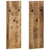 vidaXL Wieszaki ścienne na płaszcze, 2 szt., drewno mango, 36x110x3 cm