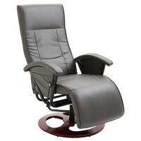 vidaXL Fotel obrotowy, szary, sztuczna skóra