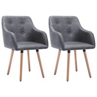 vidaXL Krzesła stołowe, 2 szt., jasnoszare, tkanina
