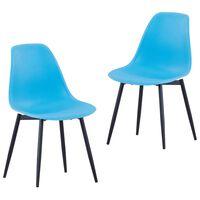 vidaXL Krzesła stołowe, 2 sztuki, niebieskie, PP
