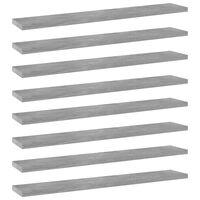 vidaXL Półki na książki, 8 szt., szarość betonu, 60x10x1,5 cm, płyta