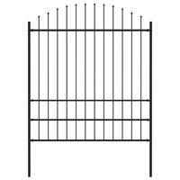 vidaXL Panel ogrodzeniowy z grotami, stal, (1,75-2) x 1,7 m, czarny