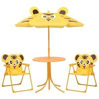 vidaXL 3-cz. dziecięcy zestaw mebli do ogrodu, z parasolem, żółty