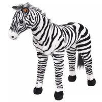 vidaXL Pluszowa zebra, stojąca, czarno-biała, XXL