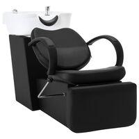 vidaXL Myjnia fryzjerska, fotel z umywalką, czarno-biała, ekoskóra