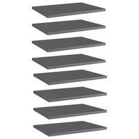 vidaXL Półki na książki, 8 szt., wysoki połysk, szare, 40x30x1,5 cm