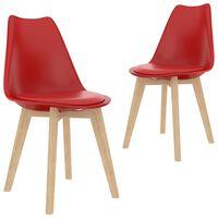 vidaXL Krzesła stołowe, 2 szt., czerwone, plastik