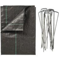 Nature Agrowłóknina przeciw chwastom, ze szpilkami, 2 x 5 m, czarna