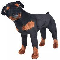 vidaXL Pluszowy rottweiler, stojący, czarno-brązowy, XXL