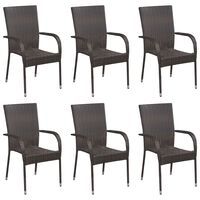 vidaXL Sztaplowane krzesła ogrodowe, 6 szt., polirattan, brązowe