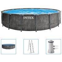 Intex Basen Greywood Prism Frame Premium z akcesoriami, 457x122 cm