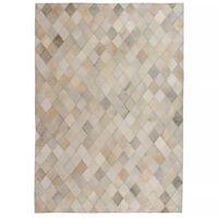 vidaXL Dywan ze skóry bydlęcej, patchwork w romby, 80x150 cm, szary