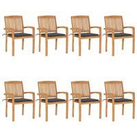vidaXL Sztaplowana krzesła ogrodowe z poduszkami, 8 szt., tekowe