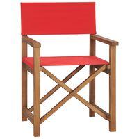 vidaXL Krzesło reżyserskie, lite drewno tekowe, czerwone