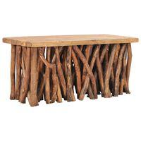 vidaXL Stolik kawowy, 100x40x47,5 cm, lite drewno z odzysku i tekowe