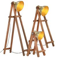 vidaXL Lampy podłogowe, 3 szt., kolor mosiądzu, E27, lite drewno mango