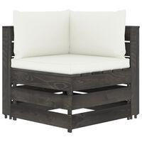 vidaXL Moduł sofy narożnej z poduszkami, impregnowane drewno