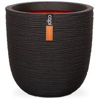 Capi Owalna donica Nature Rib, 54x52 cm, czarna, KBLR935