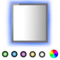 vidaXL Lustro łazienkowe LED, wysoki połysk, szare, 40x8,5x37cm, płyta