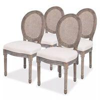 vidaXL Krzesła stołowe, 4 szt., kremowe, tkanina