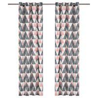 vidaXL Zasłony, metalowe kółka, 2 szt. bawełna 140x245cm, szaro-różowe