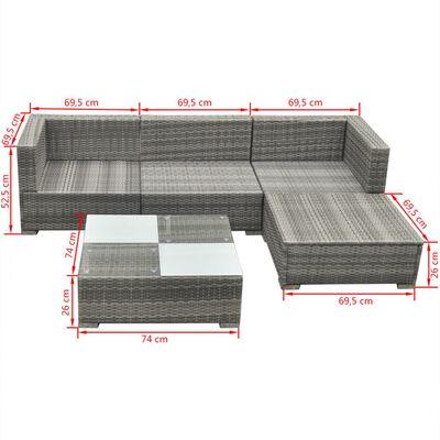 vidaXL 5-cz. zestaw wypoczynkowy do ogrodu, poduszki, rattan PE, szary