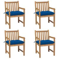 vidaXL Krzesła ogrodowe z niebieskimi poduszkami, 4 szt., tekowe