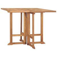 vidaXL Składany stół ogrodowy, 90x90x75 cm, lite drewno tekowe