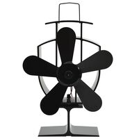 vidaXL Zasilany ciepłem wentylator kominkowy, 5 łopatek, czarny