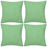4 Bawełniane poszewki na poduszki zielone jabłuszko 50 x 50 cm
