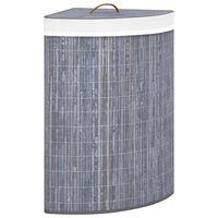 vidaXL Bambusowy kosz na pranie, narożny, szary, 60 L
