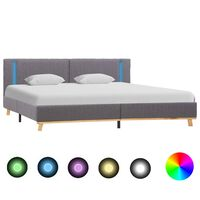 vidaXL Rama łóżka z LED, jasnoszara, tapicerowana tkaniną, 180x200 cm
