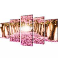 Zestaw obrazów Canvas 100 x 50 cm Kwiat Wiśni