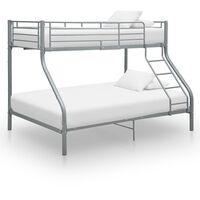 vidaXL Rama łóżka piętrowego, szara, metalowa, 140x200 cm/90x200 cm