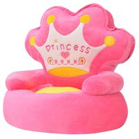 vidaXL Fotel dla dzieci PRINCESS, pluszowy, różowy